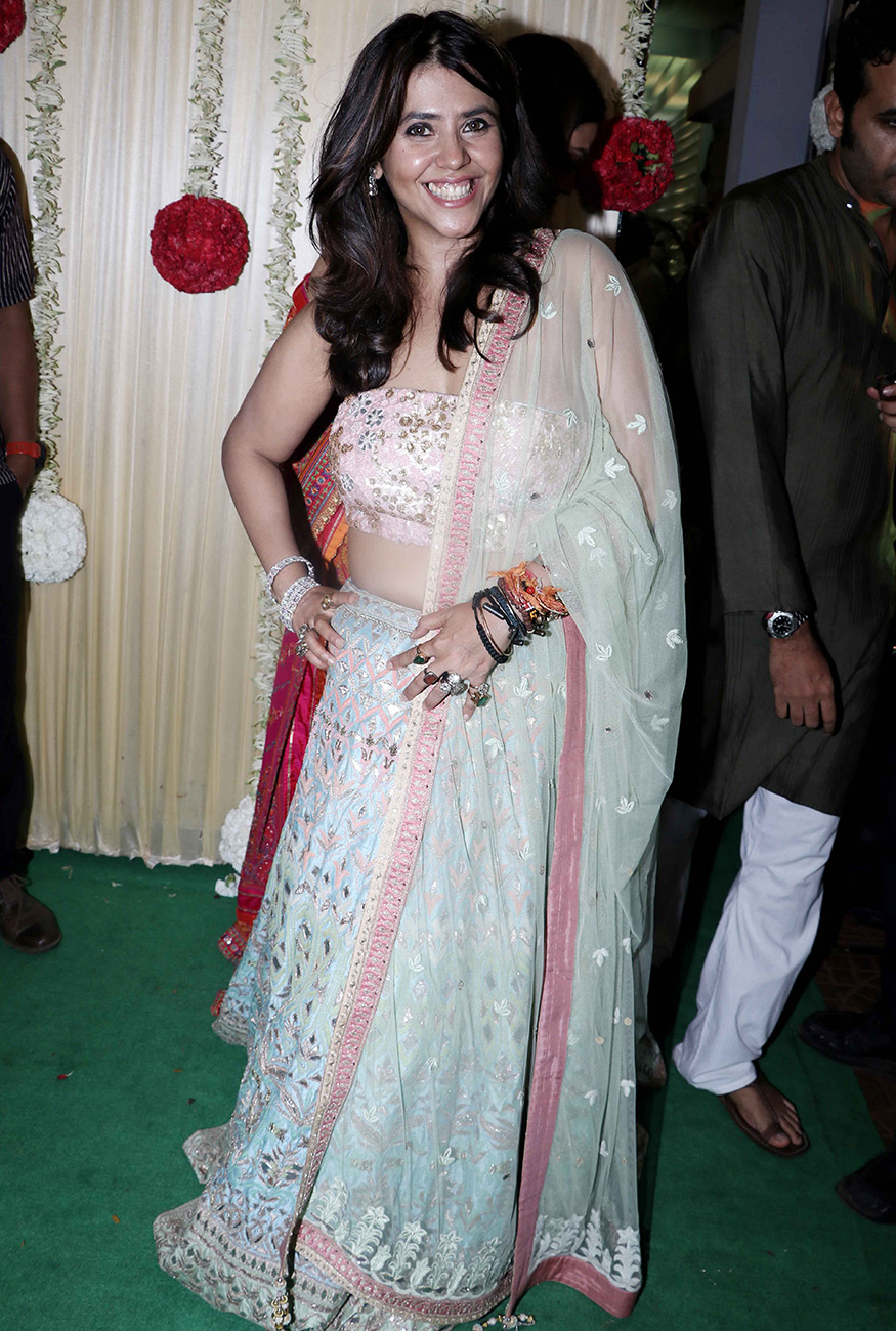 Ekta Kapoor is all smiles at her Diwali party hosted at her residence in Mumbai on October 17, 2017. (Image: Yogen Shah)