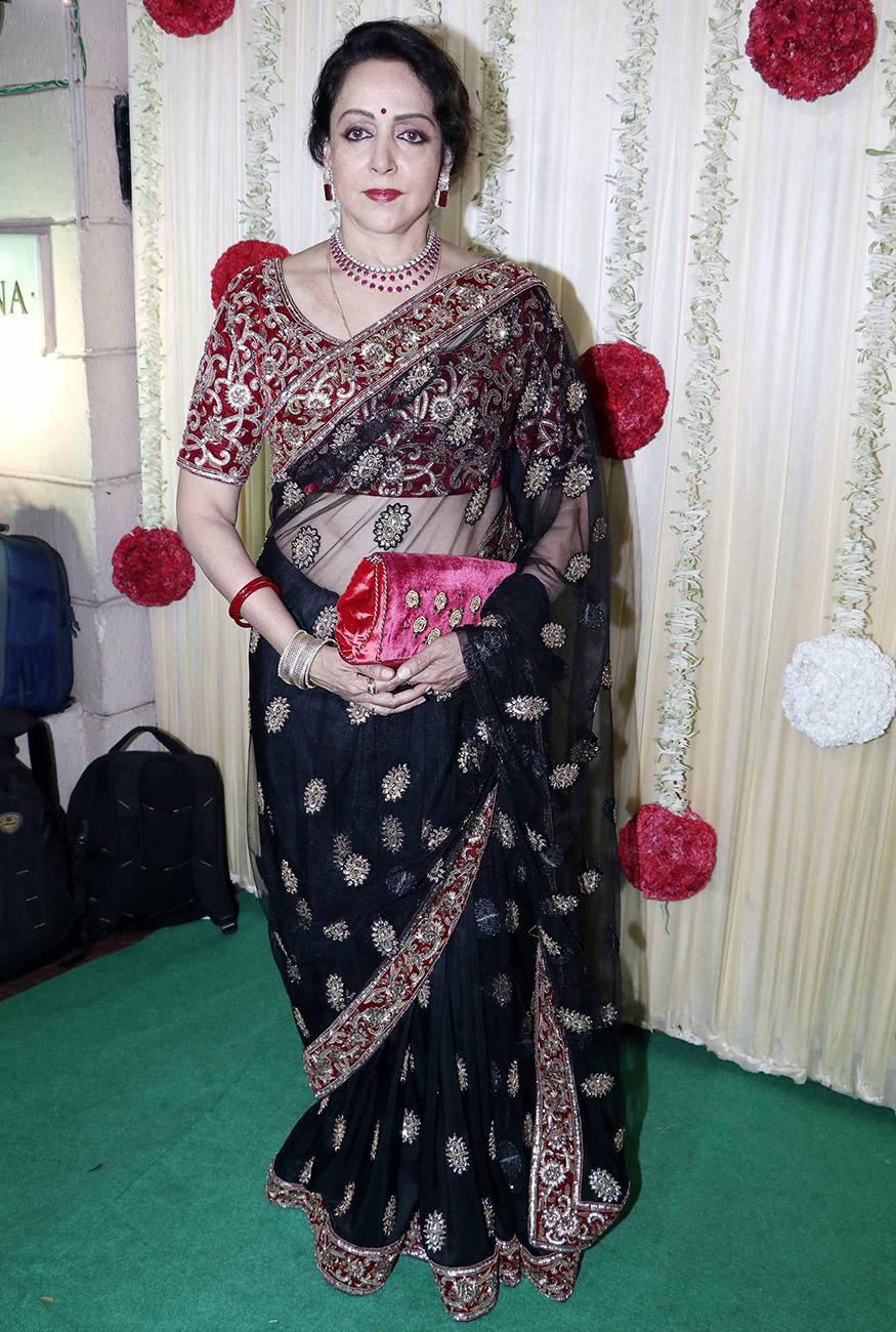 Veteran actress Hema Malini attends Ekta Kapoor's Diwali party hosted at her residence in Mumbai on October 17, 2017. (Image: Yogen Shah)