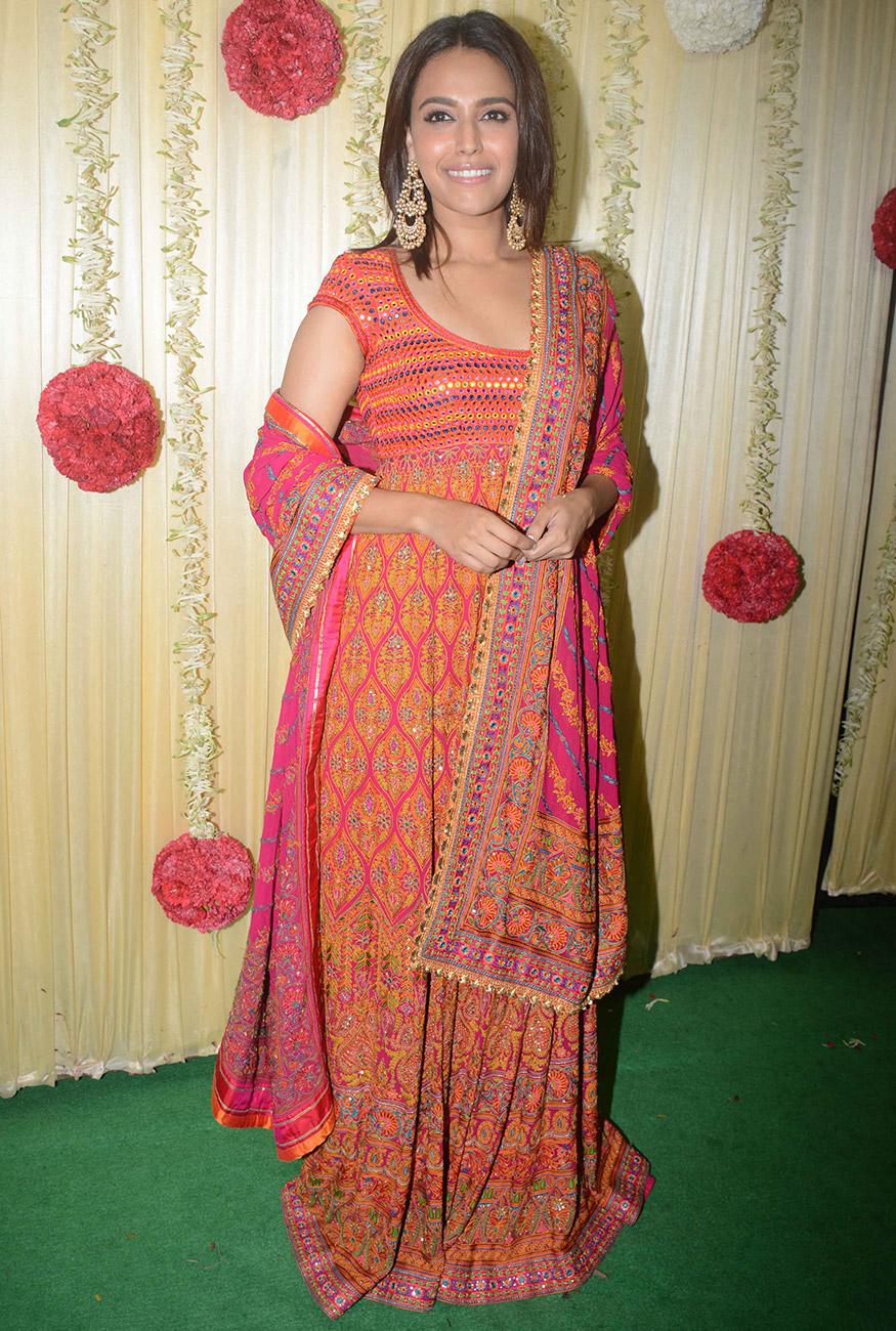Swara Bhaskar smiles for a photo during Ekta Kapoor's Diwali party hosted at her residence in Mumbai on October 17, 2017. (Image: Yogen Shah)