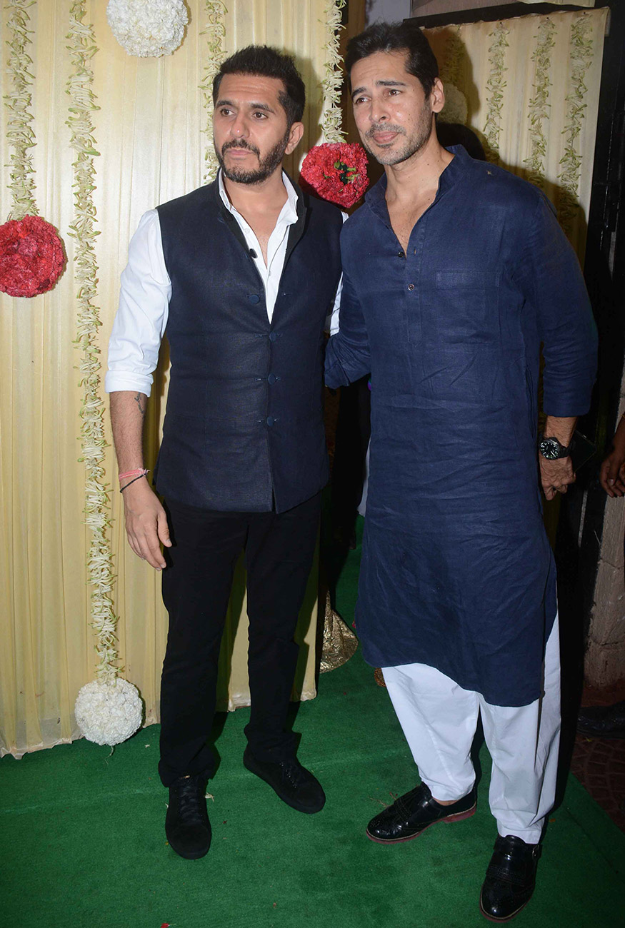 Ritesh Sidhwani poses with Dino Morea during Ekta Kapoor's Diwali party hosted at her residence in Mumbai on October 17, 2017. (Image: Yogen Shah)