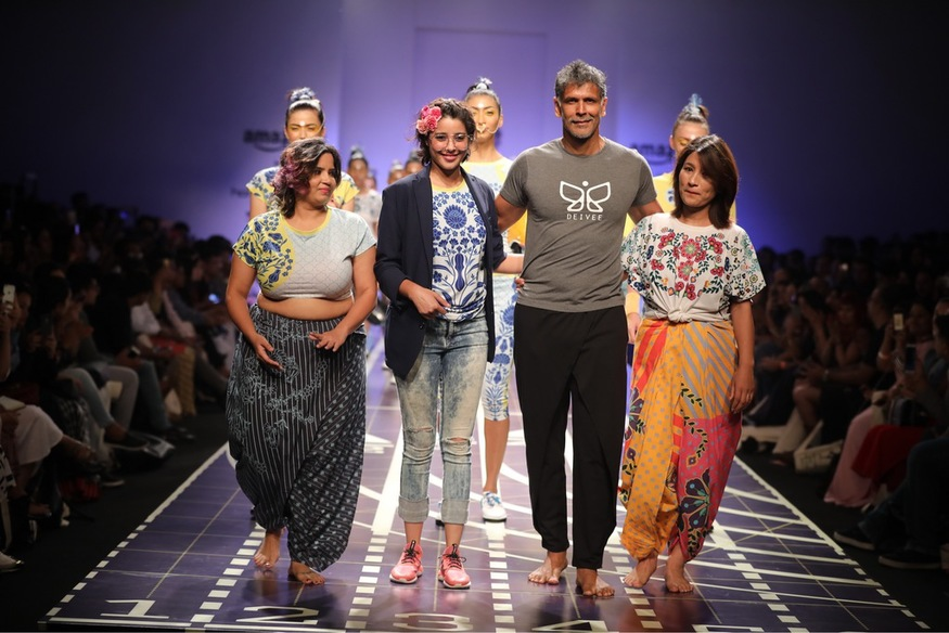 Image result for AIFW SS 2018: Milind Soman introduces India's first 'running sari' in his collection