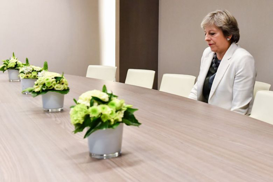 British PM Theresa May's 'Lonely' Brexit Photo Goes Viral