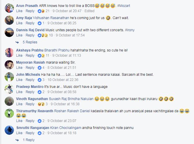 rahman comments