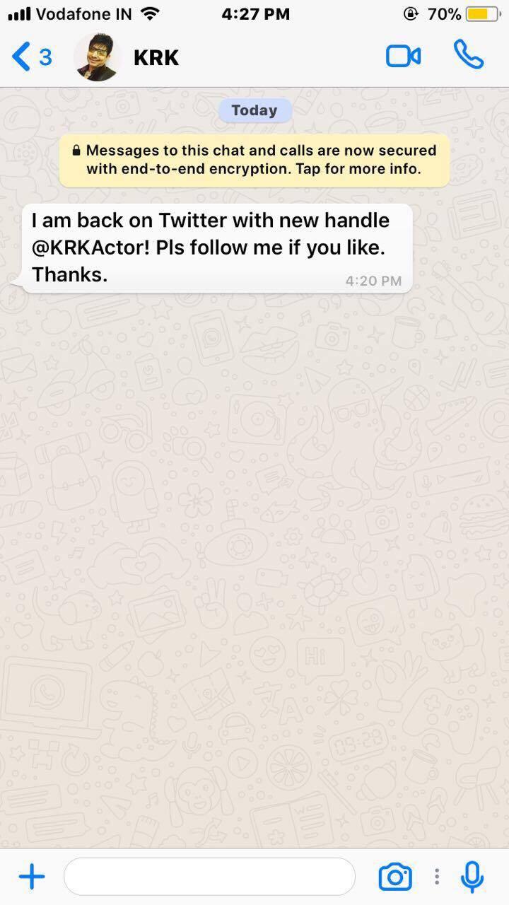 KRK back on twitter