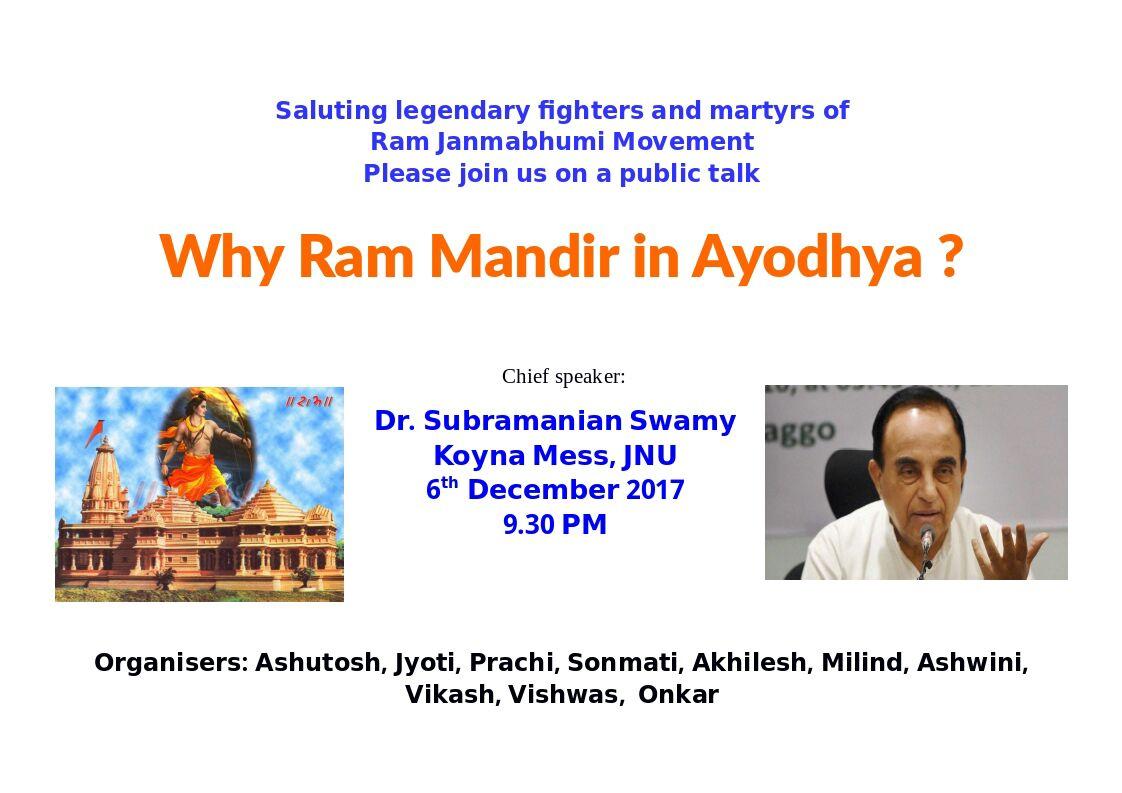 Babri demolition anniversary: JNU cancels Subramanian Swamy's talk on Ram Temple