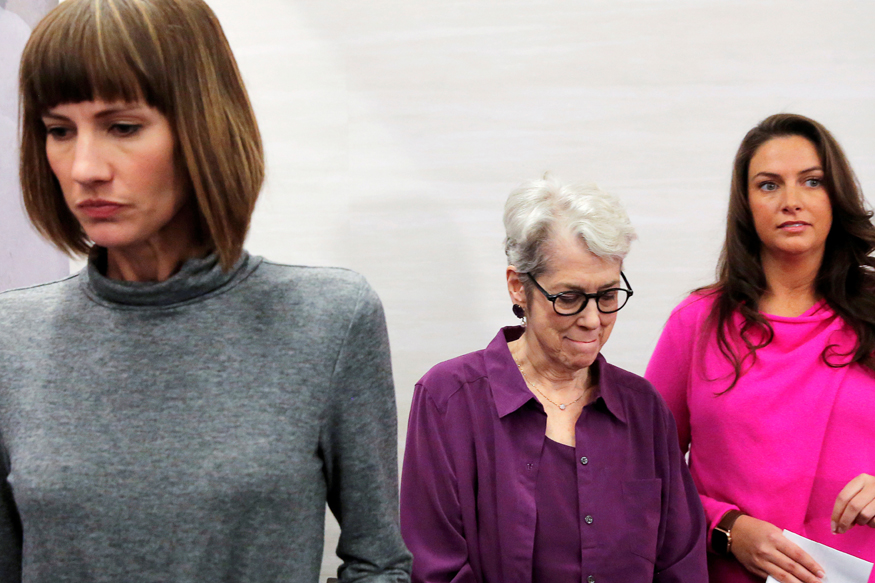"""Rachel Crooks, Jessica Leeds and Samantha Holvey speak at news conference for the film """"16 Women and Donald Trump"""" in Manhattan, New York."""