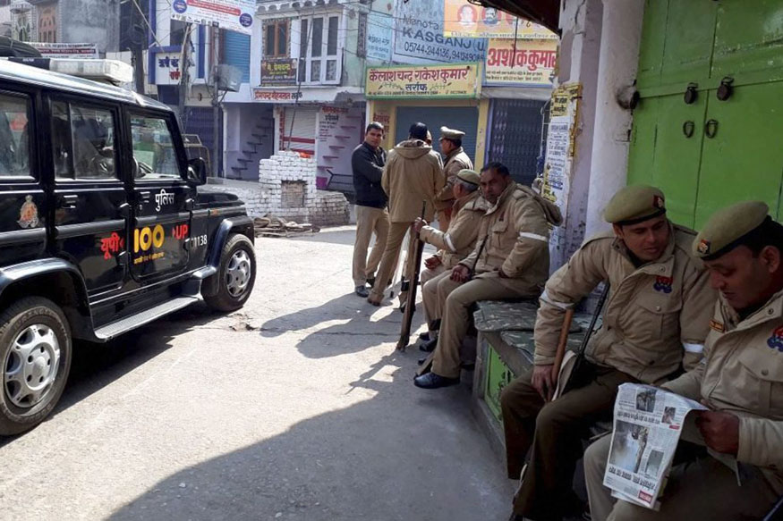 RAF and PAC deployed in UP's Kasganj