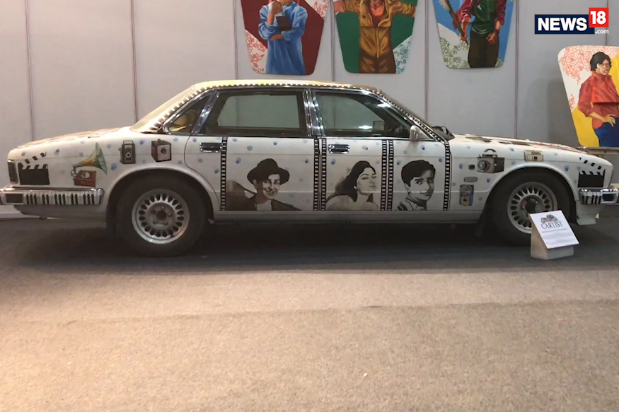 (Photo: Old Jaguar painted so as to depict the classic era of Bollywood/News18.com)