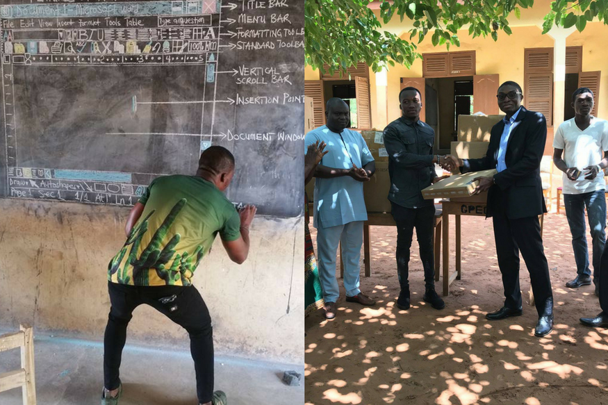 Ghana Teacher Who Taught Microsoft Word on Blackboard Gifted Computers By Indian Company