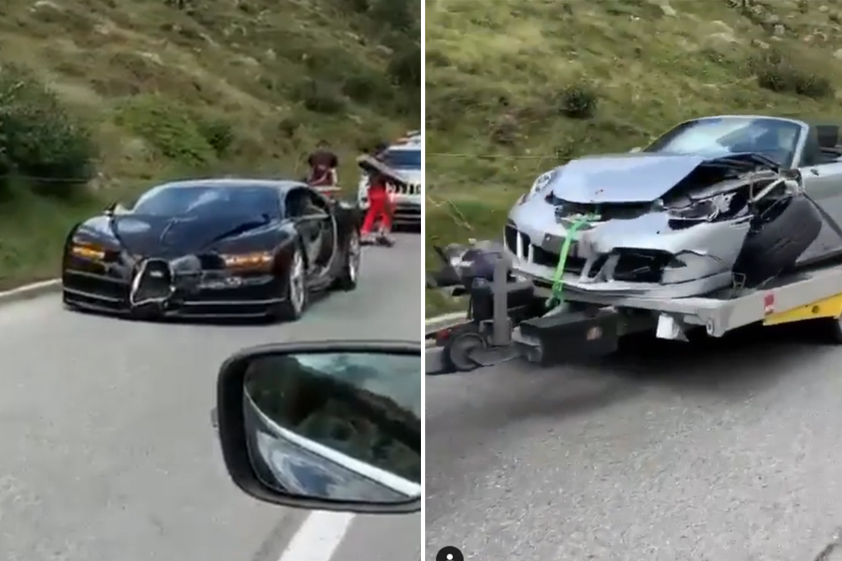 Porsche 911 And Bugatti Chiron Collide While Trying To Overtake Each Other Watch Video