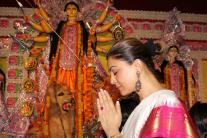 Photos: Sushmita Sen, Kajol celebrate Durga Puja with family