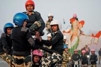 Republic Day Parade Rehearsal: Women Bikers Perform Stunts