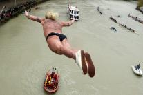 People Take New Year's Traditional Dive at Tiber River in Rome