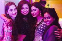 Photo of the day: Drashti Dhami poses with  Mouni Roy and Sanjeeda at her sangeet ceremony