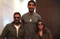 Ajay Devgn, Kajol Meet NBA Player Satnam Singh
