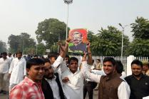 Samajwadi Party Youth Wing Torches Effigy of Amar Singh