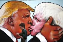 Pro-EU Group Unveils Soviet-Style Mural of Trump Kissing Ex-Mayor Johnson