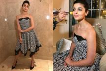Alia Bhatt Looks Gorgeous In A Black And White, Strapless Prabal Gurung Ensemble
