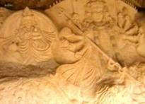 Durga idol sculpted from sand