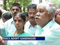 Striking Maharashtra docs take to Gandhigiri