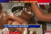 School van catches fire, 15 children injured