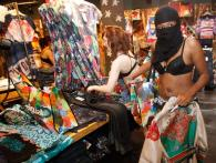 Berliners go shopping in their underwear