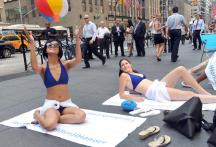 Urban beach party flash mobs in New York, London