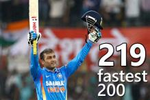 Sehwag 219 is highest ODI score, fastest 200