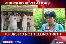 Khurshid is lying about Anna Hazare: Team Anna member