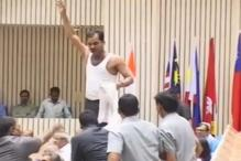 Man strips, raises slogans as PM addresses meet