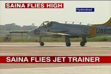 Saina Nehwal flies IAF jet trainer Kiran MK II