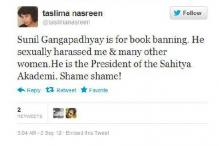 Taslima accuses noted author of sexual harassment