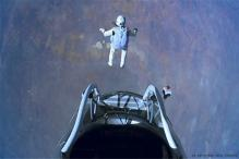 Felix Baumgartner lands after record-breaking jump of 39 km