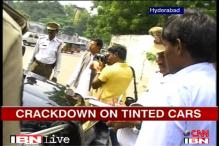 Hyderabad police cracks down on tinted car glasses