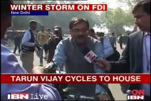 Watch: Protesting against inflation, BJP MP cycles to Parliament