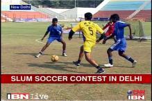 Slum soccer contest in Delhi