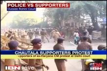 Watch: Police lathicharge Chautala supporters outside court