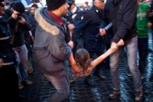 Papal conclave: Topless women protest outside Vatican