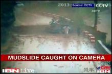 Watch: Miraculous escape for 4 people from a massive mudslide in China