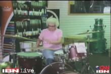 Watch: 'Mystery grandma' rocks it on the drums in US