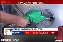 Fuel prices hiked; Petrol dearer by Rs 2.35 per litre, diesel by 50 paise