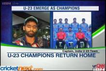 Victorious India Under-23 cricket team return home