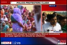 BJP MLA Sangeet Som's supporters clash with police in Meerut