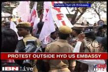 Watch: Protests outside US Consulate in Hyderabad over Devyani arrest