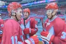 Vladmir Putin plays ice hockey in Sochi a month before Olympics