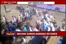 AAP protests in Mumbai after NCP workers vandalise office