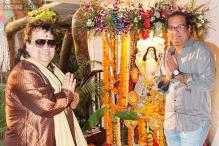 Bappi Lahiri celebrates Saraswati Puja at his house with family and close friends