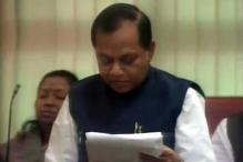 Finance Minister Rajendra Prasad presents 2014-15 state Budget amid din