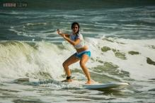 Snapshot: Hazel Keech goes for surfing in Puducherry