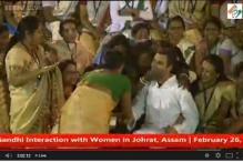 Caught on Camera: A surprised Rahul Gandhi gets kissed and his hair ruffled by women in Assam